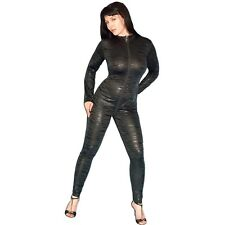 Tiger Lack CATSUIT mit 4-Wege Zipper* Gr. L * wetlook Overall* Ganzanzug* Body