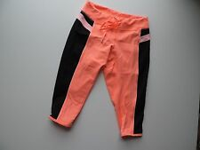 Women's Lululemon Bright Coral & Black Crop Leggings Size 6