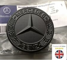 MERCEDES BENZ SPORT BLACK BONNET BADGE - 57MM NEW C E S CLK AMG CLASS