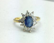 Beautiful Vintage 18ct Gold Sapphire & Diamonds Cluster Ring  - Size J 1/2