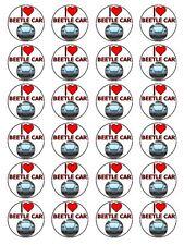 """I Love Beetle Auto Novità Compleanno Cupcake Topper su carta di riso 1,5 """" 24 per Set"""