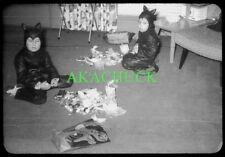 7 35mm Slides HALLOWEEN Kids in Costume 1950s KITTY CATS Piglet BUNNY RABBIT