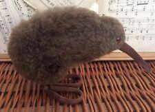 Plush MAXWELL HAY KIWI BIRD Stuffed Animal NEW ZEALAND Vintage Lambskin WOOL Toy