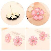 New Cute Flower Design Crystal Rhinestone Silver Plated Ear Stud Women Earrings
