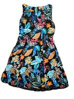 Rockmans Womens Dress Size 12 Fit And Flare Floral Tropical Print Round Neck