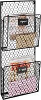 2-Pocket Wall Mounted Chicken Wire Metal Magazine Rackwith Chalkboard Labels