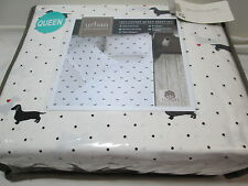 Urban Domain Black Dogs Red Hearts & Black Dots Queen Sheet Set NEW