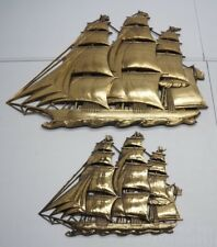 Vintage Syroco Lot of 2 Gold Sailing Ship Plastic Wall Plaque Decorations
