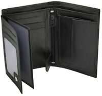 Mens RFID Blocking Soft Leather Wallet, ID Window, Zip And Coin Pocket 503 Black