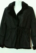 NEW FAUX SUEDE BLACK SHERLING WINTER JACKET FAUX LEATHER MEDIUM M 10-12