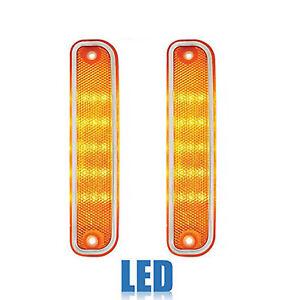 73-80 Chevy GMC Truck Front Side LED Amber Marker Light Lamp Lenses w/ Chrome Pr