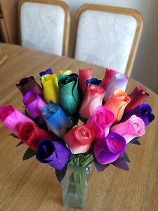 2 DOZEN - 24 MIXED COLOR BOUQUET OF BUDS FLOWER WOODEN ROSES  - FREE SHIPPING