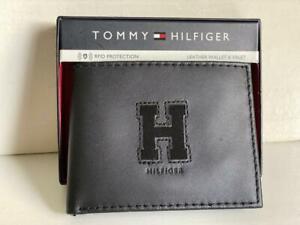 TOMMY HILFIGER BLACK RFID PROTECTION BILLFOLD LEATHER & VALET WALLET $55 SALE