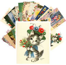 Postcards Pack [24 cards] Vintage Christmas Card Mix Cute Kitten Kids CE5002