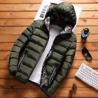 Men's Fashion Hooded Coat Cotton Padded Jacket Outwear Warm Coat Zipper Winter