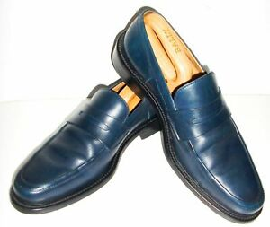 BALLY Orvalo LEATHER Penny LOAFERS SHOES 9.5 Blue SLIP ON Boat Deck MOCCASINS