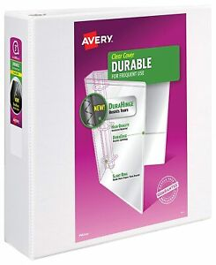 "Avery Durable Binder 3-Inch Slant Ring DuraHinge Holds 600 8.5"" x11"" Paper White"