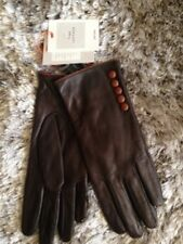 John Lewis Fleece Lined FINE Napa Lambs LEATHER 5 BUTTON GLOVES Brown S/M NEW