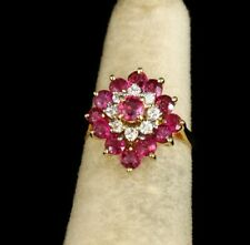 SIGNED VINTAGE NATURAL 2.0ctw RUBY DIAMOND HALO 14K GOLD BALLERINA CLUSTER RING