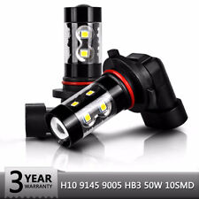 2x H10 9145 LED Fog Light 80W High Power CREE 6000K White Projector DRL Driving