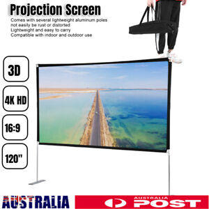 Portable 120'' inch Projector Screen 16:9 Home Cinema Theater with Stand
