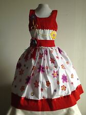 Red Girls Dress Size 4 Floral 100% Cotton Pique Birthday Pageant Handmade New