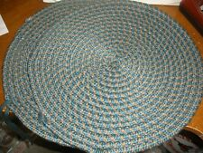 """New listing Nwot Set of 2 Braided Seat Cushions Round 16"""" Green, Blue, Tan"""