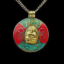 amulett Anhänger buddha Gold Rot glück talisman medaillon Messing buddhismus t36