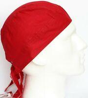 Fitted Bandana Cotton Headscarf Durag Zandana Tie to Fit Neck Flap Plain Red