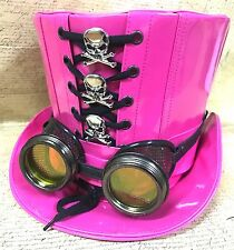 SDL PVC Hot Pink Cosplay top hat With Silver Oxidised Goggle & Skulls In  59cm