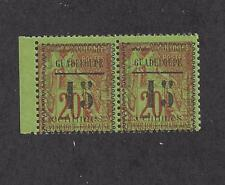 GUADELOUPE - 8+8 VAR - MH SE-TENANT PAIR - 1889 - CENTIMES = 12mm AND 10 1/2 mm