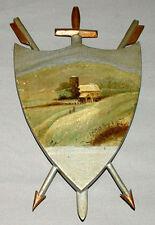 Victorian Folk Art Hand Painted Winter Farm Scene On Wood With Arrows & Sword