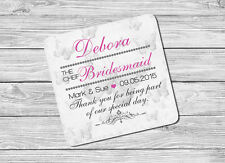 Personalised The Chief Bridesmaid Name & Date Drink Coaster Mat Wedding Day Gift