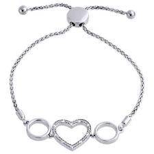 "Genuine 1/20 CT. Diamond Heart Bolo Bracelet in Sterling Silver Wheat Chain 8"""