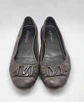 FA 0058 auth Louis Vuitton brown leather BUCKLE OXFORD Ballet Flats Shoes 38 1/2
