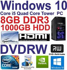 . Windows 10 CORE I5 QUAD CORE HDMI Gaming Tower PC 8GB DDR3 - 1000GB HDD DVD-RW