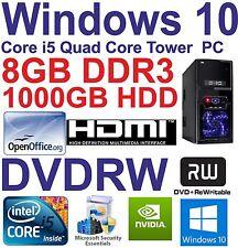 .Windows 10 Core i5 Quad Core HDMI Gaming Tower PC  8GB DDR3 - 1000GB HDD DVDRW