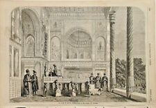 SHAH OF PERSIA, Throne Room, Palace Of Tehran, Vintage 1857 Antique Art Print