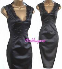 KAREN MILLEN ✩ STUNNING BLACK SATIN LACE TRIMMED PENCIL WIGGLE DRESS ✩ UK 8