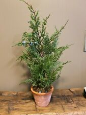New Pottery Barn Faux Juniper Evergreen Christmas Tree Berries Terra Cotta Pot