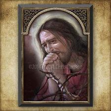 Agony of Jesus Wood Icon/Plaque & Holy Card GIFT SET Catholic Art