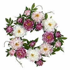 Nearly Natural 4788 Peony Wreath- 22-Inch- Pink