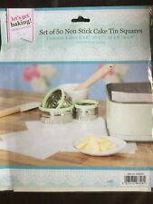 50 x Non Stick Cake Tin Square Liners 4 Sizes Sheets Mats Paper Squares