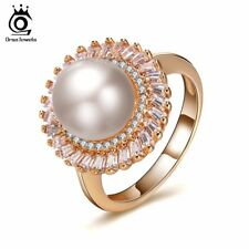 Luxury Rings AAA Cubic Zircon Round Shape Pearl Xmas Gifts for Her Mother Women