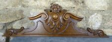 "34.8"" Antique French Hand Carved Wood Solid Oak Pediment"