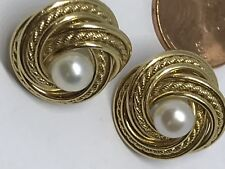 14k Gold Love Knot Earring SOLID REAL Vintage Yellow simulated Pearl stud 5.8g