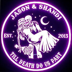 Custom, Last name, wedding, led sign, Skeleton, personalized, groom, bride