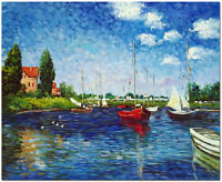 """Red Boats Argenteuil  - Hand Painted Claude Monet Oil Painting Wall Art 24x20"""""""