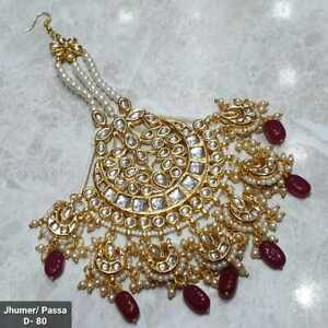 Indian Kundan Gold Plated Bridal Jhoomar Passa Bollywood Head Jewelry Red Pearls