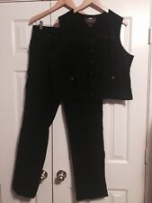 Harley-Davidson 2pc SET SUIT BLACK CORDUROY corduroys VEST JEANS pants XL 16